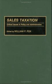 Cover of: Sales Taxation | William F. Fox