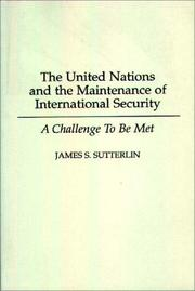 Cover of: The United Nations and the maintenance of international security