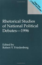 Cover of: Rhetorical studies of national political debates-- 1996 |