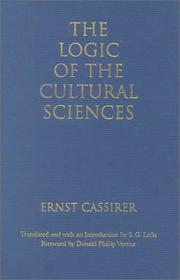 Cover of: The Logic of the Cultural Sciences | Ernst Cassirer