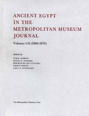 "Cover of: Ancient Egypt in The Metropolitan Museum ""Journal"" Volumes 1-11 (1968-1976)"