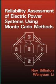 Cover of: Reliability assessment of electric power systems using Monte Carlo methods