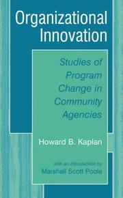 Cover of: Organizational Innovation | Howard B. Kaplan, Marshall Scott Poole