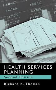Cover of: Health services planning by