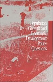 Cover of: Population Growth and Economic Development | National Research Council.