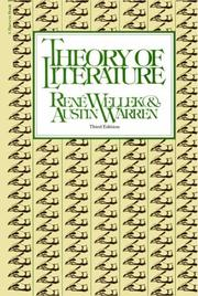 Cover of: Theory Of Literature | RenГ© Wellek