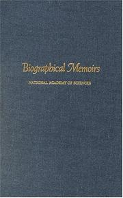 Cover of: Biographical Memoirs | National Academy of Sciences U.S.