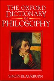 Cover of: The Oxford dictionary of philosophy