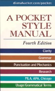 Cover of: Pocket Style Manual 4e & Working with Sources MLA Quick Reference | Diana Hacker