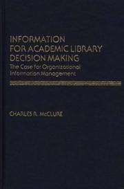 Cover of: Information for academic library decision making