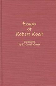 Cover of: Essays of Robert Koch