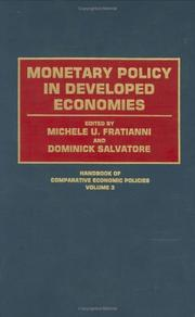 Cover of: Monetary policy in developed economies | edited by Michele U. Fratianni and Dominick Salvatore.