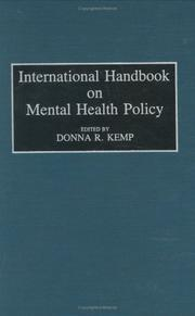 Cover of: International handbook on mental health policy |