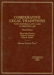 Cover of: Comparative legal traditions