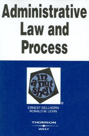 Cover of: Administrative law and process in a nutshell