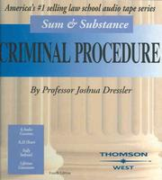 Cover of: Sum & Substance Audio on Criminal Procedure, (cassette) (Sum & Substance)