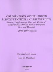 Cover of: Corporations And Other Limited Liability Entities And Partnerships, Selected Statutes 2006-2007