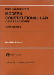 Cover of: Modern Constitutional Law, Cases and Notes