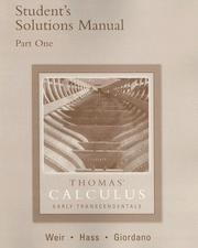 Cover of: Thomas' calculus : early transcendentals : student's solutions manual