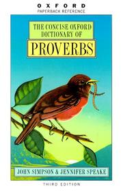 Cover of: The Concise Oxford dictionary of proverbs |