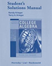 Cover of: Graphical Approach College Algebra | Randy Krieger