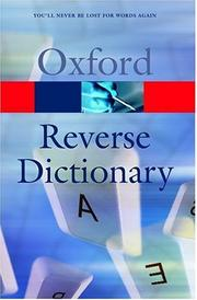 Cover of: The Oxford reverse dictionary