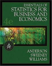 Cover of: Essentials of statistics for business and economics | David Ray Anderson