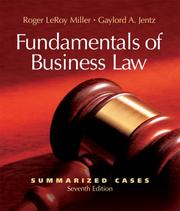 Cover of: Fundamentals of Business Law Summarized Cases (with Online Legal Research Guide)