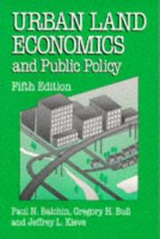 Cover of: Urban land economics and public policy