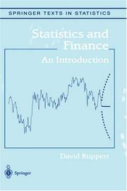 Cover of: Statistics and Finance | David Ruppert