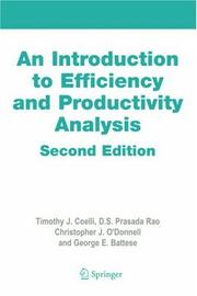 Cover of: An introduction to efficiency and productivity analysis |
