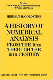 Cover of: A history of numerical analysis from the 16th through the 19th century | Herman Heine Goldstine
