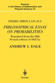 Cover of: Philosophical essay on probabilities | Pierre Simon marquis de Laplace