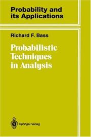 Cover of: Probabilistic techniques in analysis