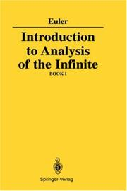 Cover of: Introduction to analysis of the infinite