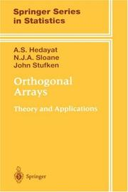 Cover of: Orthogonal arrays