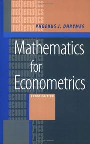 Cover of: Mathematics for Econometrics | Phoebus J. Dhrymes