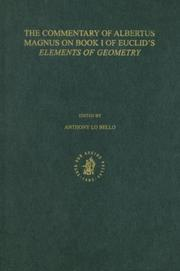 Cover of: The Commentary of Albertus Magnus on Book 1 of Euclid