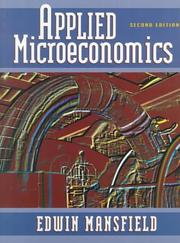 Cover of: Applied microeconomics | Edwin Mansfield