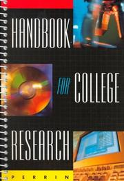 Cover of: Handbook for college research