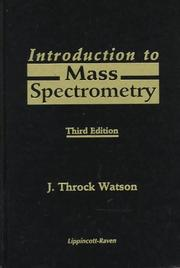 Cover of: Introduction to mass spectrometry