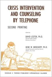 Cover of: Crisis Intervention and Counseling by Telephone |
