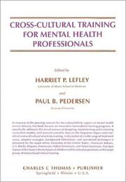 Cover of: Cross-cultural training for mental health professionals