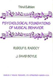 Cover of: Psychological foundations of musical behavior