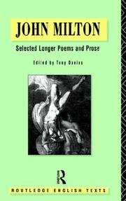 Cover of: Selected longer poems and prose | John Milton