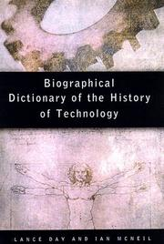 Cover of: Biographical dictionary of the history of technology | edited by Lance Day and Ian McNeil.