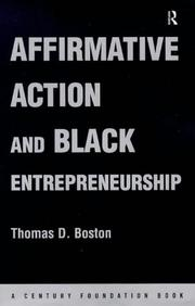 Cover of: Affirmative action and black entrepreneurship