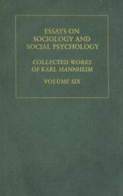 Cover of: Essays on Sociology and Social Psychology: Karl Mannheim