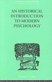 Cover of: An Historical Introduction to Modern Psychology