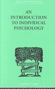 Cover of: An Introduction to Individual Psychology
